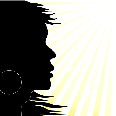 Vector silhouette on the sunny background Vector