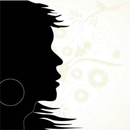 Vector silhouette on the floral background Stock Vector - 11446163
