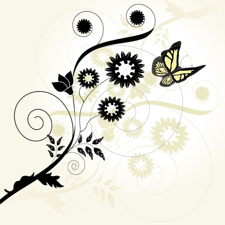 black butterfly: Vector floral background with butterfly Illustration