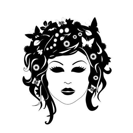 donna farfalla: Vector Silhouette Donna Vettoriali