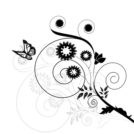 Vector floral background with butterfly Vector