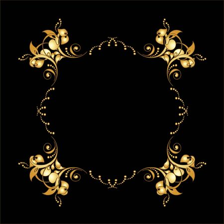 golden border: Vector golden frame