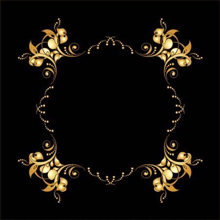 baroque border: Vector golden frame