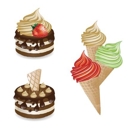cone cake cone: Vector desserts and ice-creams Illustration