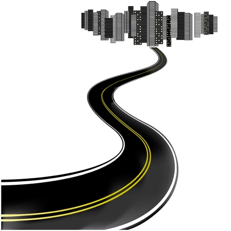 Vector road leads to city Stock Vector - 11446122