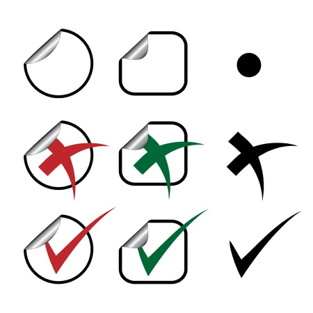 vote symbol: Vector stickers - check marks Illustration
