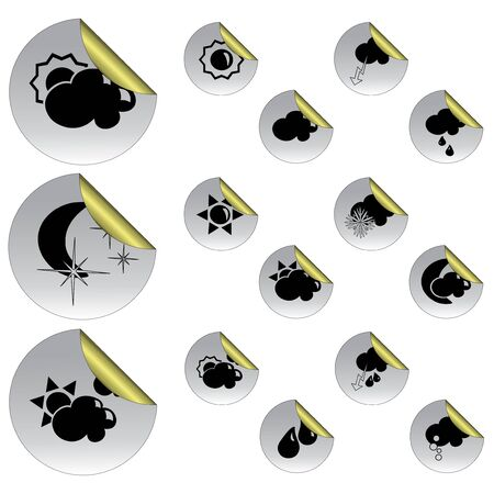 weather symbols: Vector stickers with weather symbols Illustration