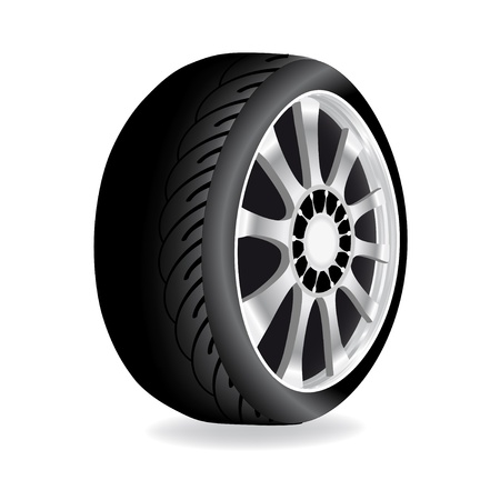 tyre tread: Vector wheel - car, automobile