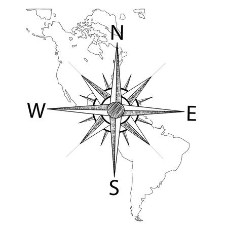 Vecteur boussole sur la carte de l'Amérique