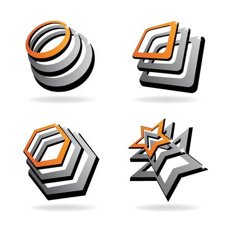 chrome metal: Vector shiny icons Illustration
