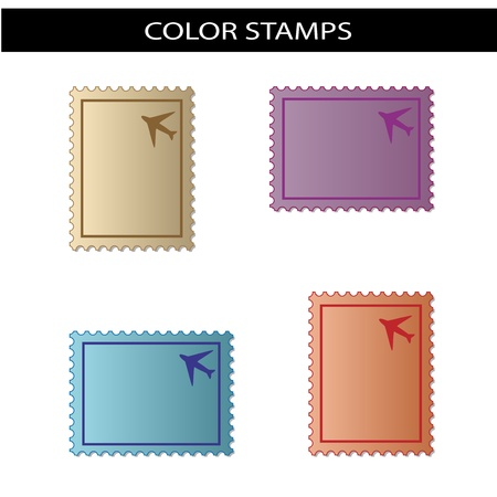 Vector stamps with airplane Illustration