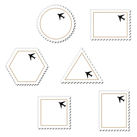 perforated stamp: Vector stamps with airplane Illustration