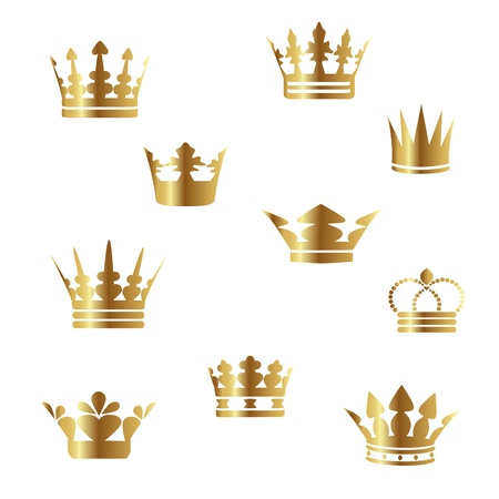 gold cross: Vector gold crowns