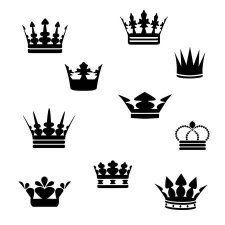 Vector black crowns Vector