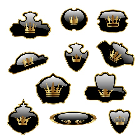 Vector royal labels with gold crowns Stock Vector - 11469899