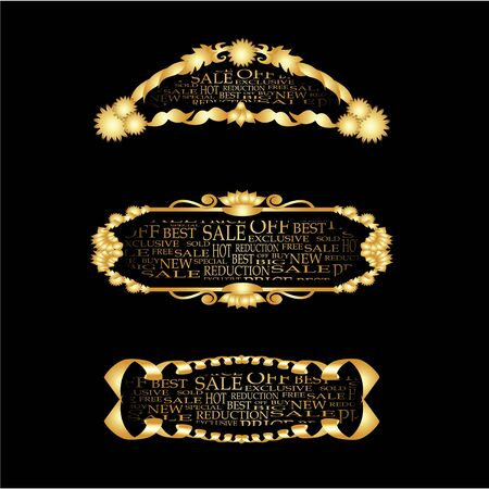 Vector set of golden bussines frames Stock Vector - 11470001