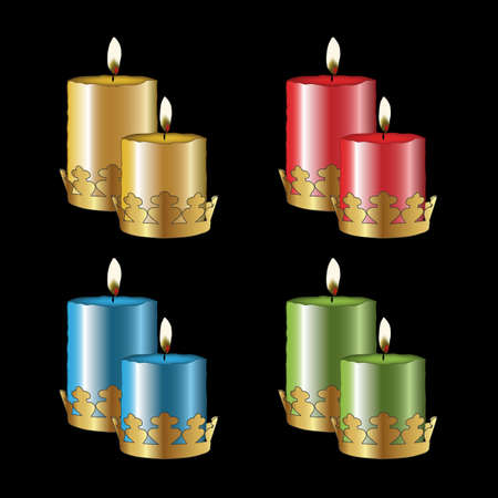 taper: Vector color candles Illustration