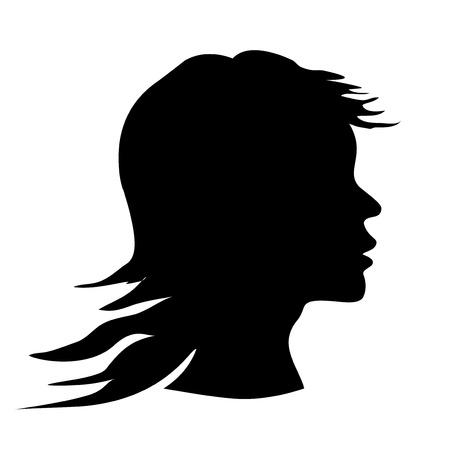 dark hair: Vector woman silhouette Illustration