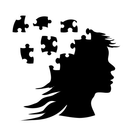 Vector silhouette donna di puzzle