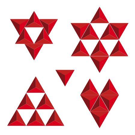 tetraedro: Simboli vettoriali creati triangoli