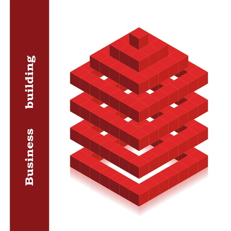red building blocks: Vector building created cubes Illustration