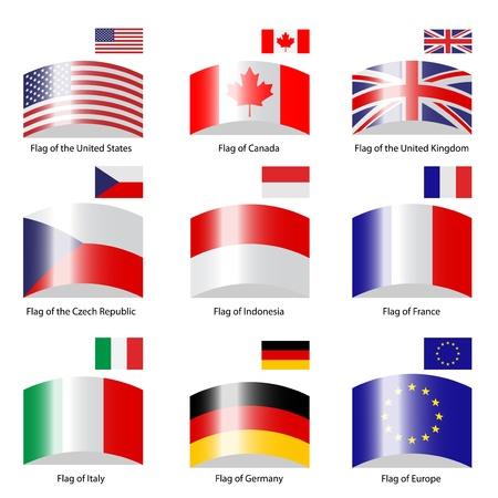 Vector deflected flags Vector