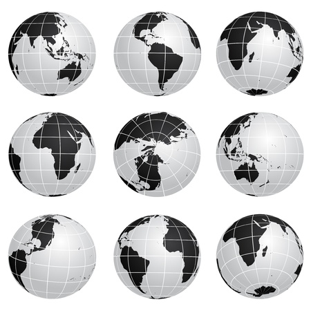 asia globe: Vector globes various turn Illustration