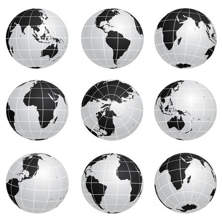 weltkugel asien: Vektor Globen verschiedenen wiederum Illustration