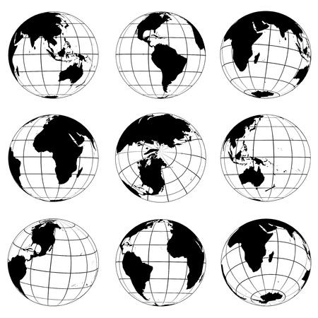 Vector globes various turn