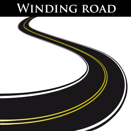 open road: Vector winding road Illustration