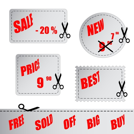 cut price: Vector shopping labels