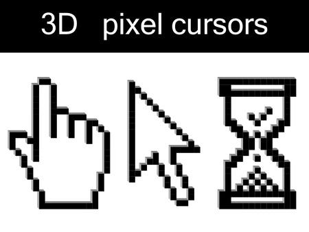 sandglass: Vector 3d pixel cursors Illustration