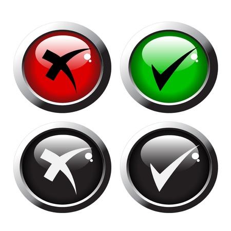 cross process: Vector check mark buttons Illustration