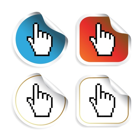 peeling corner: Vector stickers with cursor of hand Illustration