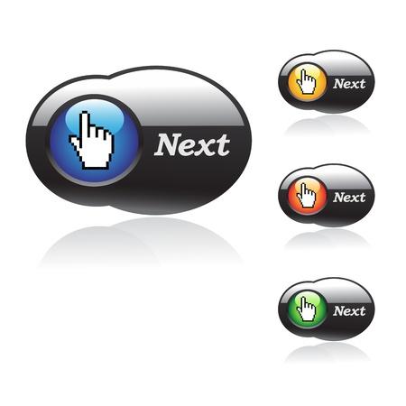 bouton brillant: Boutons vecteur avec le curseur de la main