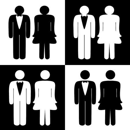 man and women wc sign: Vector toilet symbols Illustration