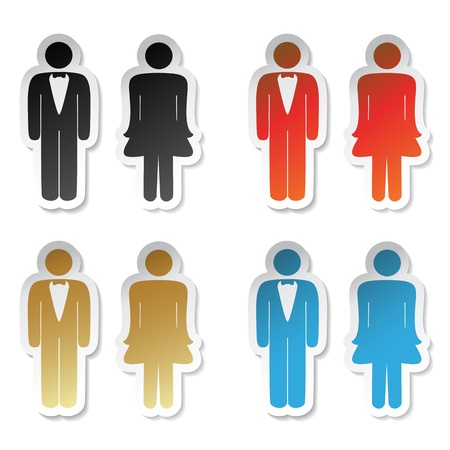 man and women wc sign: Vector toilet stickers Illustration