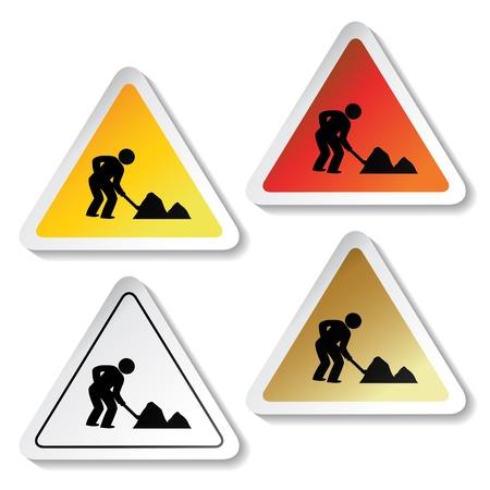 gold shovel: Vector stickers - under construction