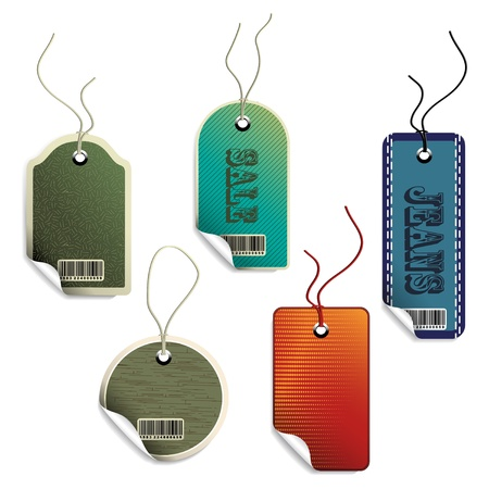 Vector sale tags with curled corner Vector