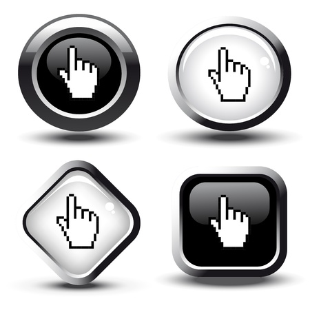 illuminate: Vector buttons with cursor of hand