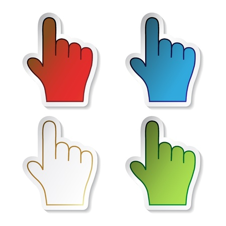 Vector pointer stickers of hand Vector