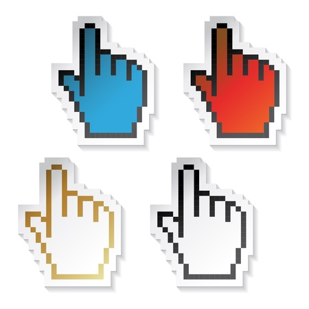 Vector stickers pixel cursors of hand Vector