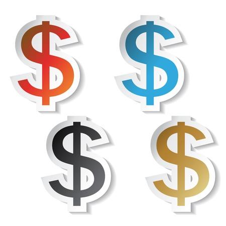 Autocollants dollars Vector