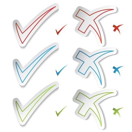 cancel icon: Vector check mark stickers Illustration