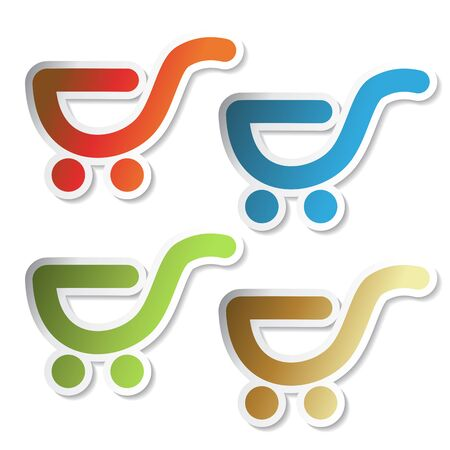 Vector stickers of shopping trolley Vector