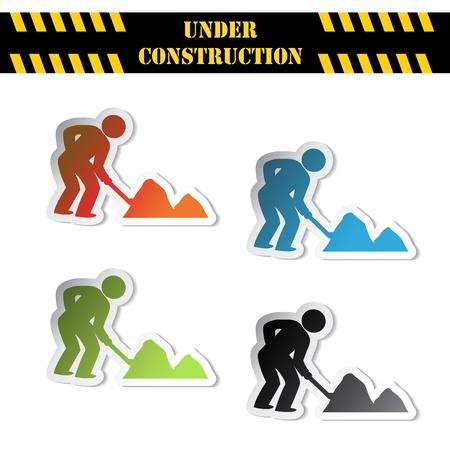 safety symbols: Vector stickers - under construction