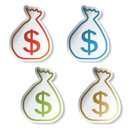 Vector stickers of money symbol Vector