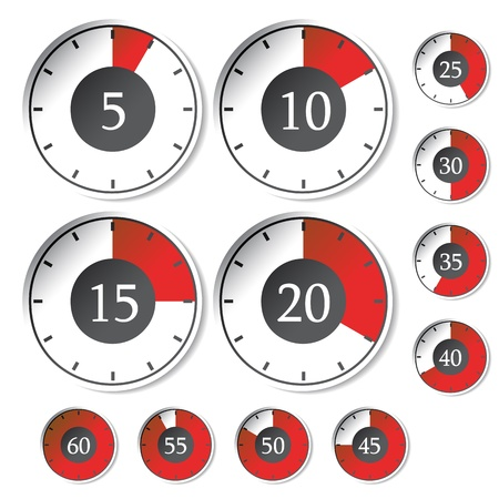 countdown timer: Vector set of red timers Illustration