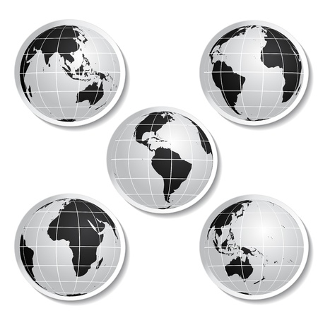 Vector stickers of globe Stock Vector - 11490906