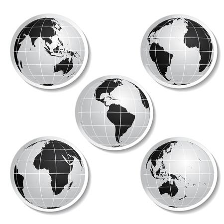 Vector stickers of globe Stock Vector - 11490906